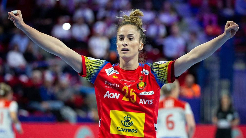 La navarra Nerea Pena celebra un gol de la selección española de balonmano. RFEBM.