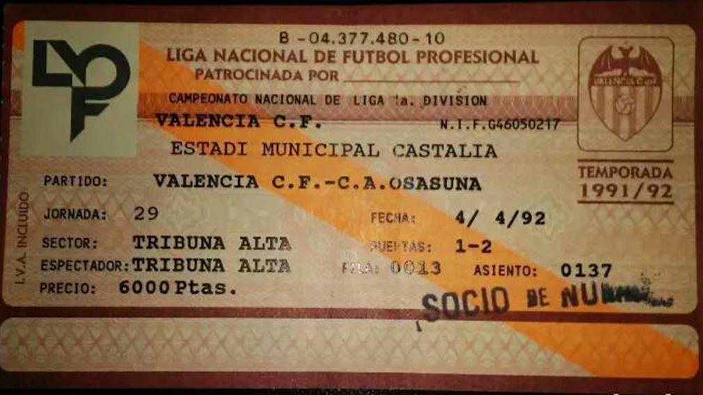 Entrada del partido Valencia - Osasuna en el estadio de Castalia