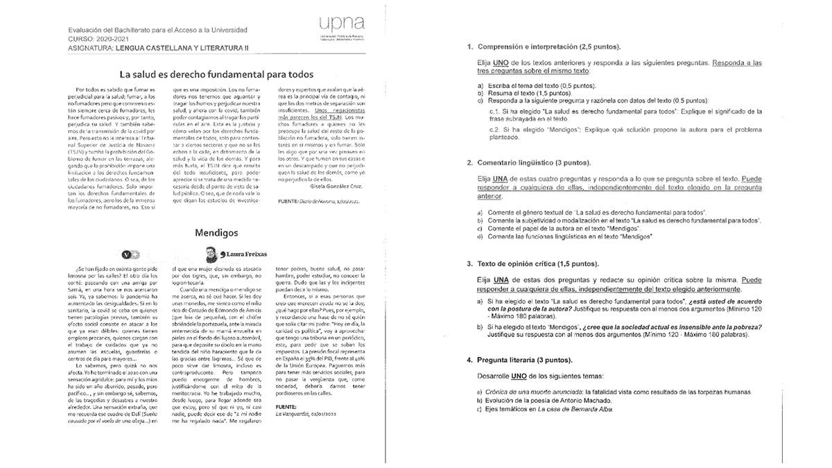 Examen de Historia de España de la EvAU 2021. Pincha en la imagen para verlo completo.