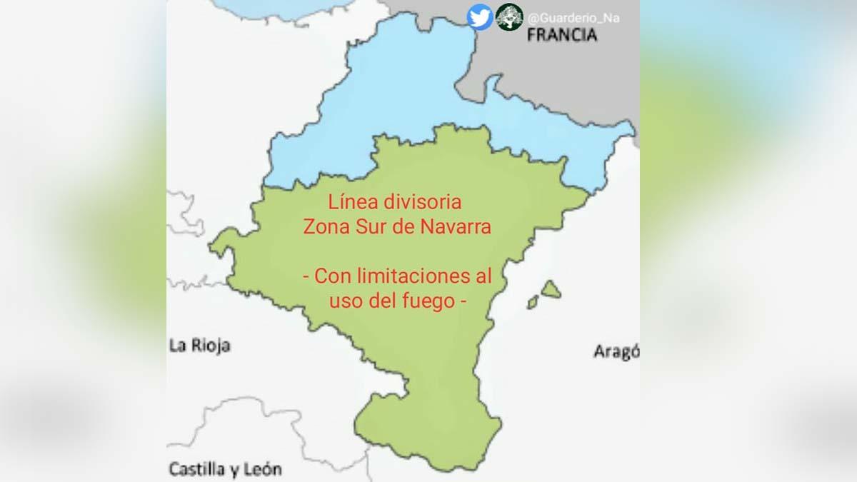 División de las zonas norte y sur de la Comunidad Foral.