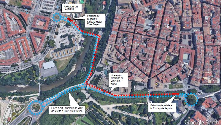 El recorrido que realizará el tren turístico. El recorrido rojo indica la ida y el azul indica la vuelta. AYUNTAMIENTO DE PAMPLONA