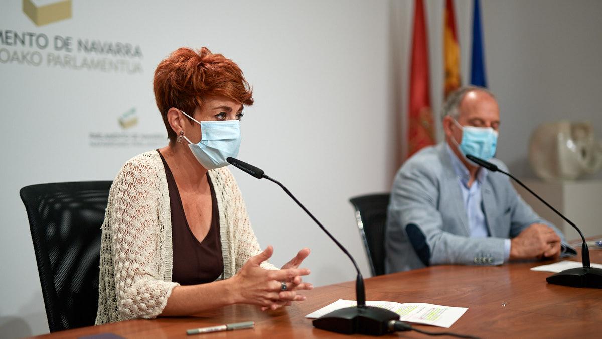 Los parlamentarios de EH Bildu Bakartxo Ruiz y Adolfo Araiz ofrecen una rueda de prensa de balance del cumplimiento del acuerdo presupuestario con el Gobierno de Navarra. MIGUEL OSÉS