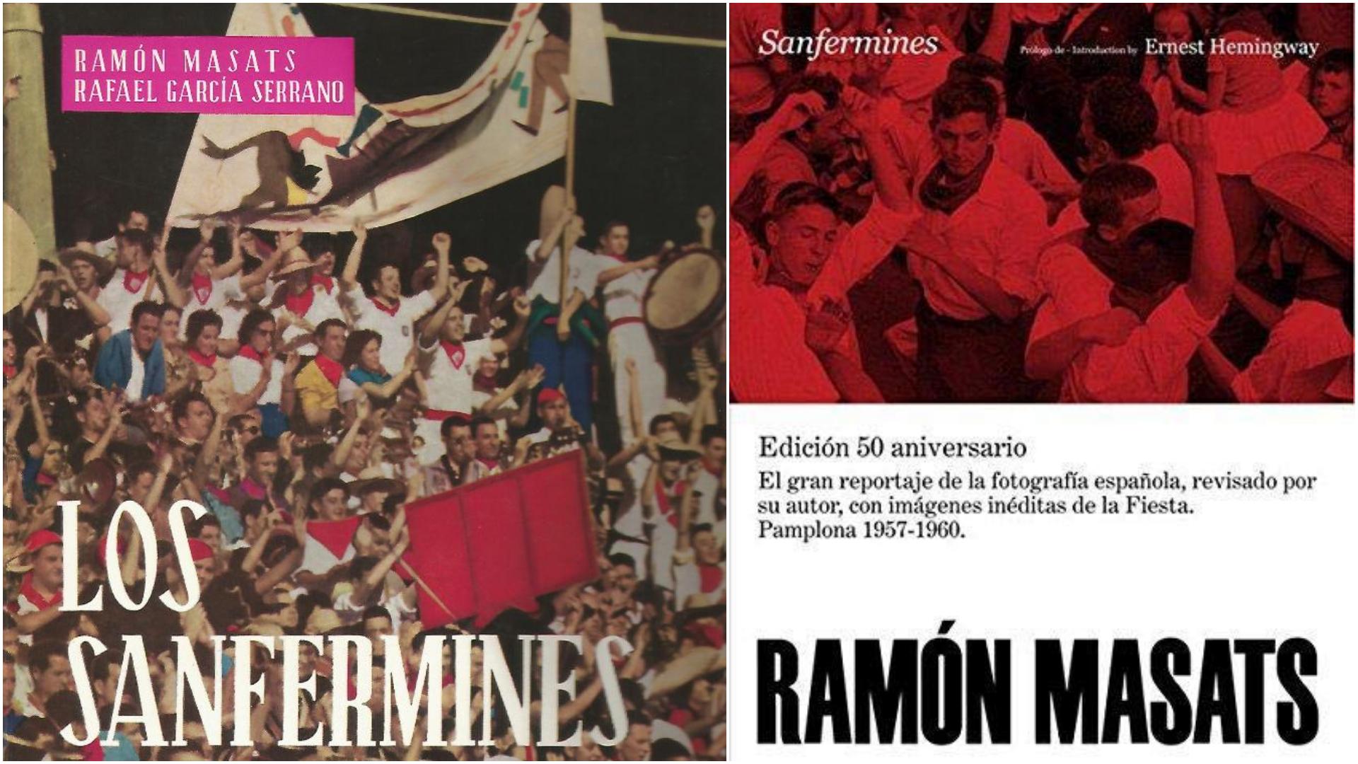 Las dos ediciones de los libros de Ramón Masats sobre los Sanfermines con imágenes de los años 60.