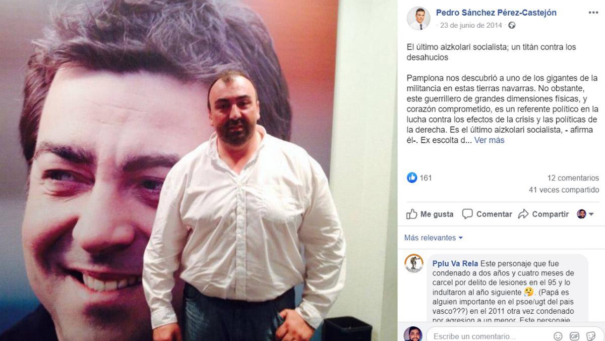 IEl cariñoso mensaje que dedicó Pedro Sánchez a Koldo García en su cuenta de Facebook.