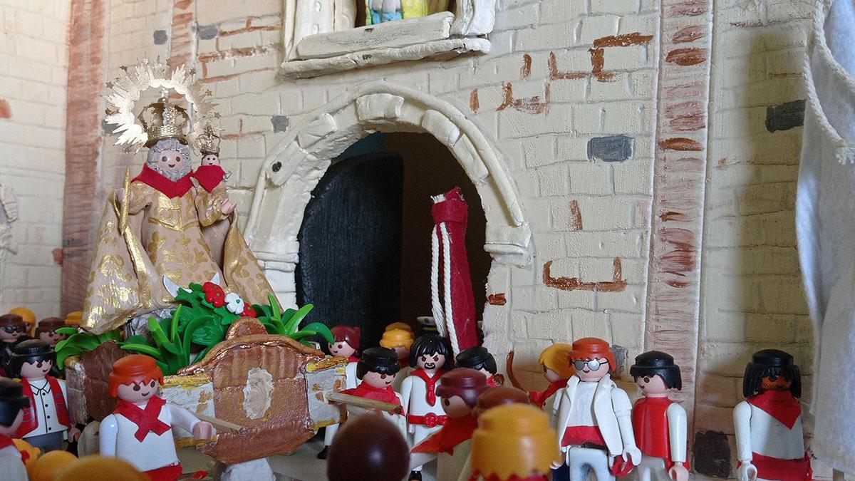 Recreación de la procesión de la Virgen de Falces con Playmobil. ARCHIVO