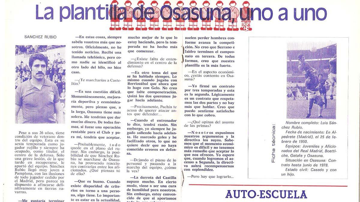 Entrevista a Luis Sánchez Rubio en un boletín de Osasuna de 1976. Navarra.com