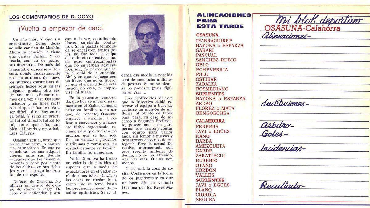 Comentario de Don Goyo y página de alineaciones en el boletín osasunista de 1976. Navarra.com