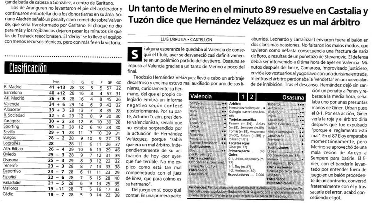 Crónica del partido Valencia - Osasuna en El Mundo Deportivo el 5 de abril de 1992