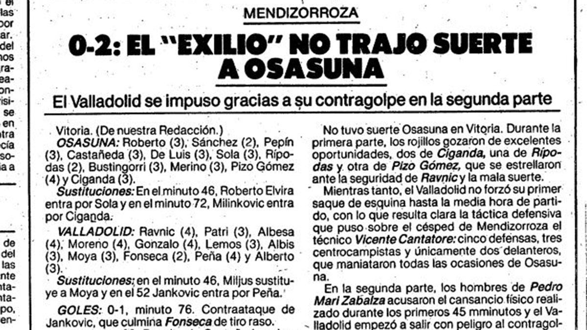 Crónica del Osasuna - Valladolid jugado en Vitoria. El Mundo Deportivo