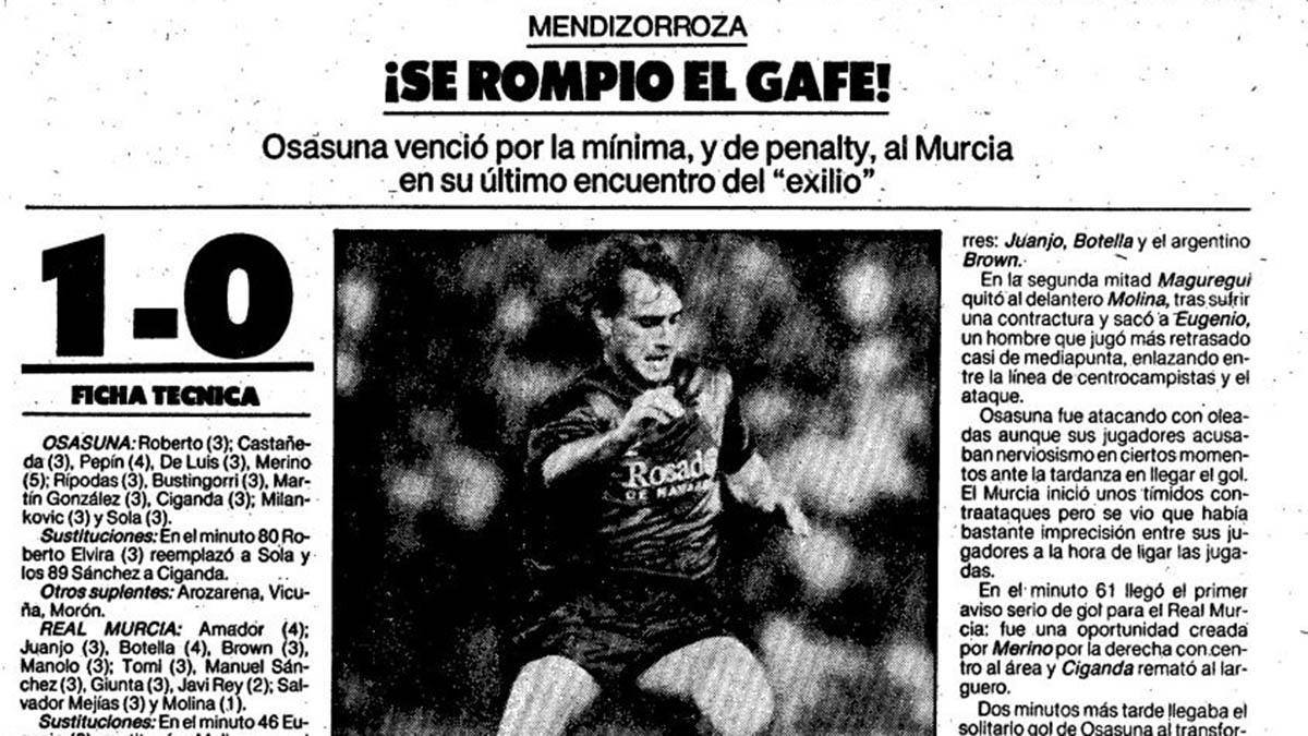Crónica del partido Osasuna - Murcia en Vitoria. El Mundo Deportivo