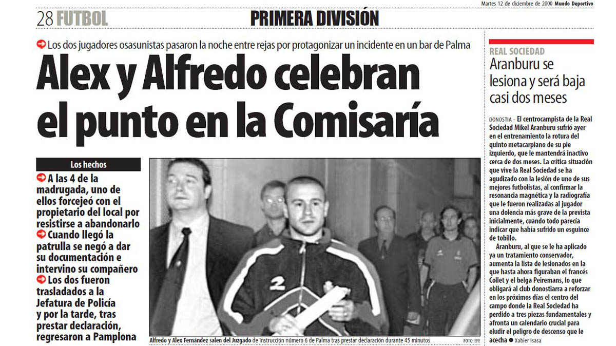 Noticia publicada en El Mundo Deportivo del 12 de diciembre de 2000