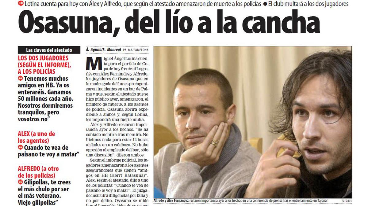 Noticia publicada en El Mundo Deportivo del 13 de diciembre de 2000